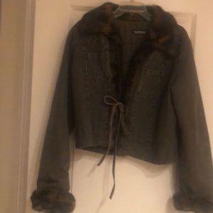 Denim jacket with fur trim collar & cuffs